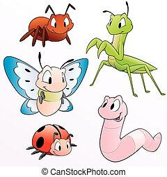 Cartoon Insects - Vector illustration of a set of cartoon...