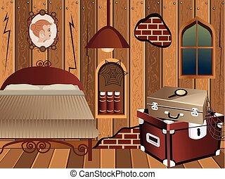 cartoon interior - attic - cartoon interior - illustration...