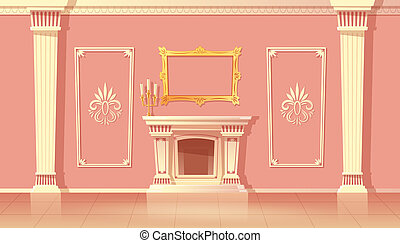 cartoon interior of living room with fireplace