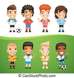 Cartoon International Soccer Players Set for Your Sport Project. Clipping paths included in additional jpg format.