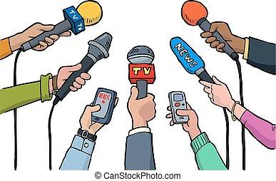 cartoon, interview, medier