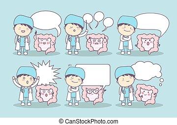 cartoon intestine and doctor