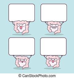 cartoon intestine with blank billboard