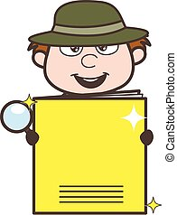 Cartoon Investigator Presenting a Notebook Vector ...