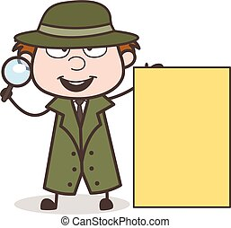 Cartoon Investigator with Ad Banner Vector Illustration