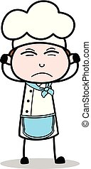Cartoon Irritated Chef Expression Vector Illustration