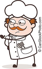 Cartoon Irritated Chef Expression Vector