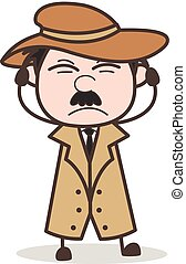 Cartoon Irritated Detective Expression Vector Illustration