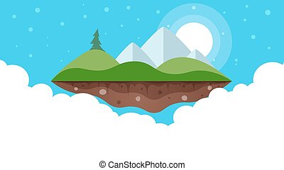 Cartoon island landscape illustration.