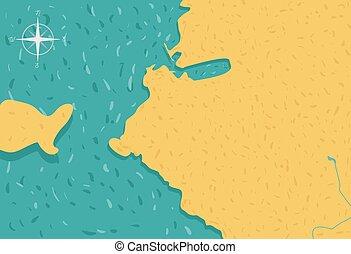 Cartoon island map vector illustration