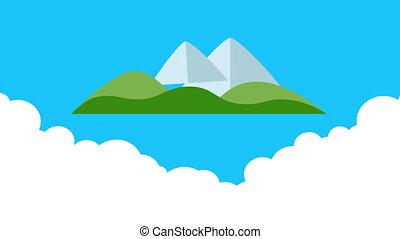 Cartoon island. Mountain, fir, sun and cloud. - Cartoon...