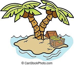 Cartoon island with palm trees.