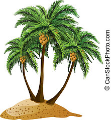 Cartoon island with palms