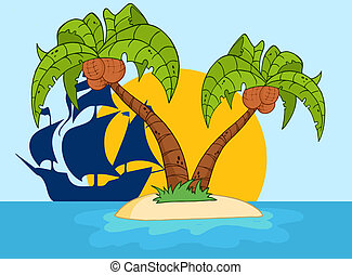 Two Palm Tree And Pirate Ship - Cartoon Island With Two Palm...