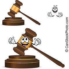 Cartoon isolated fun wooden gavel - Happy wooden gavel...