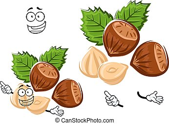 Cartoon isolated hazelnut with brown nuts