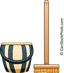 Cartoon isolated mop with brush and bucket for cleaning on white background