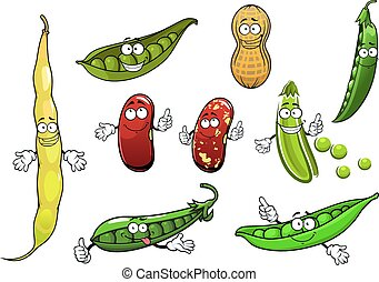 Funny green pods of sweet pea, common bean with mottled brown beans and peanut vegetables cartoon characters, for healthy vegetarian food design