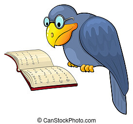 Cartoon raven reads the book. Vecor illustration. Isolated on white.