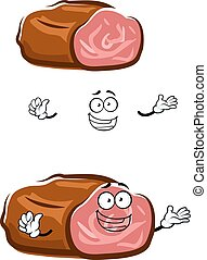 Cartoon isolated roast beef character