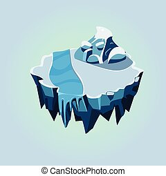 Cartoon Isometric Icy Island for Game, Vector Illustration