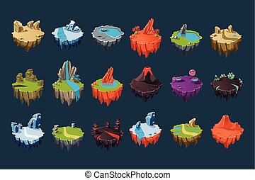 Cartoon isometric islands with volcanoes, lakes, waterfalls, glaciers, craters, crystals and rocks. Colorful flat vector elements for fantasy computer or mobile game