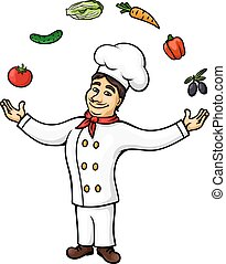 Cartoon italian chef juggling vegetables, fruits