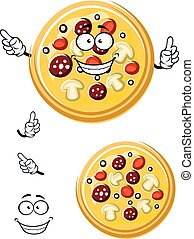 Cartoon italian pizza with ingredients