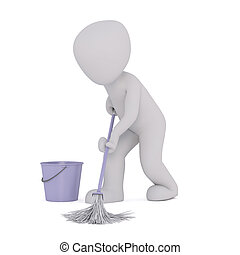 Man Mopping Floor While Wife Watches Tv Clip Art Search