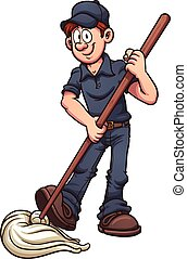 Cartoon janitor. Vector clip art illustration with simple gradients. All in a single layer.