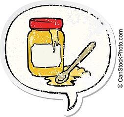 cartoon jar of honey and speech bubble distressed sticker