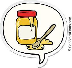 cartoon jar of honey and speech bubble sticker