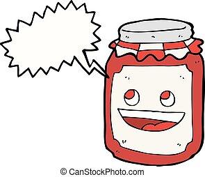 cartoon jar of preserve with speech bubble