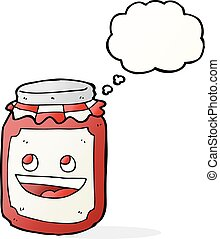 cartoon jar of preserve with thought bubble