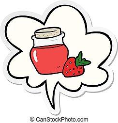 cartoon jar of strawberry jam and speech bubble sticker