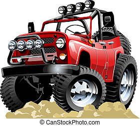 Cartoon jeep isolated on white background. Available EPS-10...