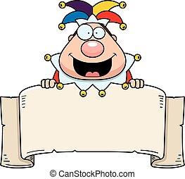 Cartoon Jester Banner - A cartoon illustration of a court...