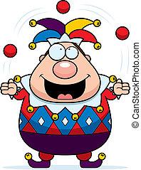 Cartoon Jester Juggling
