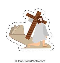cartoon jesus christ falls first time - via crucis station