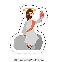 cartoon jesus christ holding heart sac
