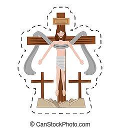 cartoon jesus christ sacred cross
