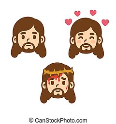 Cartoon Jesus set - Jesus Christ face set in cute cartoon...