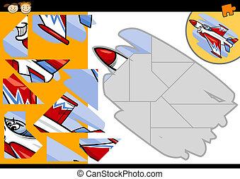 cartoon jet jigsaw puzzle game