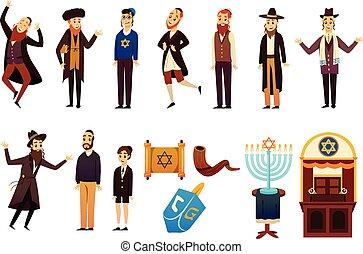Cartoon Jew Characters Set - Cartoon jews characters icons...