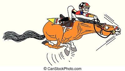 cartoon jockey on a horse