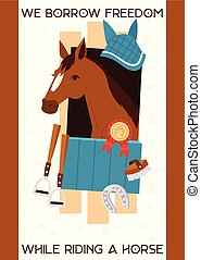 Cartoon jokey banner with horse in stable, equipment for...