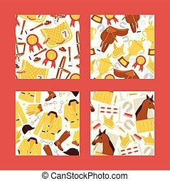 Cartoon jokey seamles pattern vector illustration. Horse in...