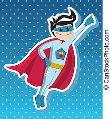 cartoon., jongen, superhero