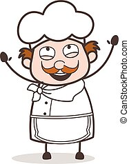 Cartoon Joyful Chef Face Vector Illustration