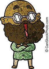 cartoon joyful man with beard
